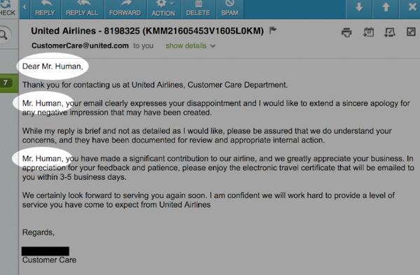 ลูกค้าสัมพันธ์ที่ผิดพลาดของ United Airlines